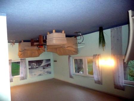 Wohnzimmer auf dem Kopf